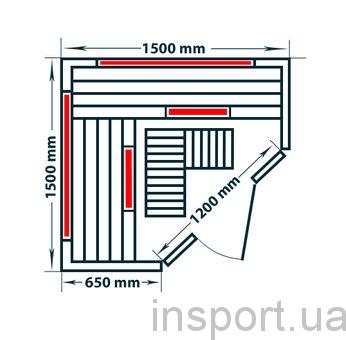 Четырёхместная инфракрасная сауна Corner Luxe
