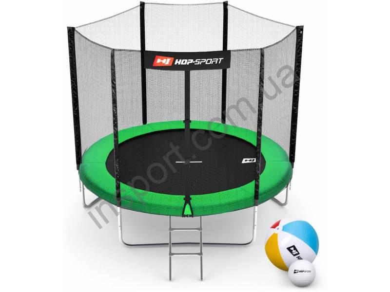Батут Hop-Sport 8ft (244cm) green с внешней сеткой