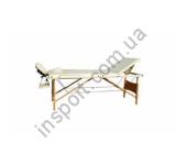 Массажный стол 3-х секционный (дерев. рама) бежевый Relax HY-30110 white
