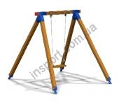 Качель одинарная на деревянных стойках на цепи DIO314