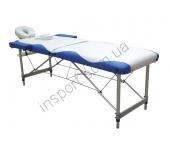 Массажный стол Fitness Master 2-секционный бело-синий
