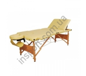 HY-30110-1.2.3 Массажный стол 3-х секционный (дерев. рама) кремовый