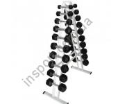 Гантельный ряд Fitness Master от 1 кг до 10 кг со стойкой ( 10 пар )